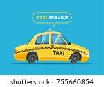 cartoon taxi vector... | Shutterstock .eps vector #755660854