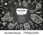 meat top view frame. vector... | Shutterstock .eps vector #755661304