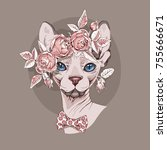 sphynx cat in a rose flower... | Shutterstock .eps vector #755666671