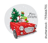 christmas card. fir tree and...   Shutterstock .eps vector #755666701