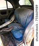 the inside of old car wreck.... | Shutterstock . vector #755669989