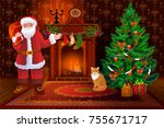 santa claus and cat...   Shutterstock .eps vector #755671717