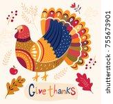 illustration for thanksgiving... | Shutterstock .eps vector #755673901