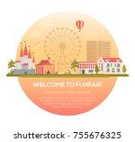 welcome to funfair   modern... | Shutterstock .eps vector #755676325