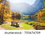 hinterer langbathsee lake in... | Shutterstock . vector #755676709