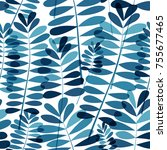 vector blue floral pattern | Shutterstock .eps vector #755677465