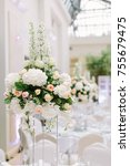 the decor of the wedding hall | Shutterstock . vector #755679475