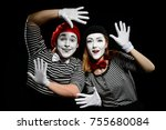 Smiling Mimes In Striped Shirt...