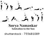 salutation to the sun yoga... | Shutterstock .eps vector #755681089