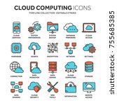 cloud omputing. internet... | Shutterstock .eps vector #755685385