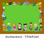 cartoon students and school... | Shutterstock .eps vector #75569164