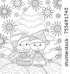 adult coloring page book a pair ... | Shutterstock .eps vector #755691745