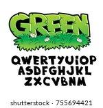 symbol set font. tropical.... | Shutterstock .eps vector #755694421