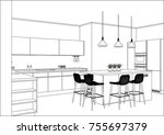 3d vector sketch. modern... | Shutterstock .eps vector #755697379