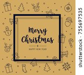 christmas card icon elements... | Shutterstock .eps vector #755697535