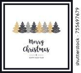 christmas card  frame scribble... | Shutterstock .eps vector #755697679