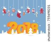 lovely vector new year 2018... | Shutterstock .eps vector #755698231