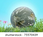 planet earth on a flowery meadow - stock photo