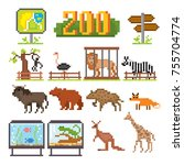 zoo icons set. pixel art. old... | Shutterstock .eps vector #755704774
