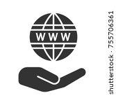 open hand with www symbol glyph ... | Shutterstock .eps vector #755706361