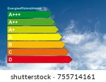 """Small photo of energy efficiency concept. save energie and cash with the german word """"energieeffizienzklasse""""."""