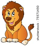 Cartoon Sitting Lion   Vector...