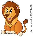 Cartoon Sitting Lion   Vector...