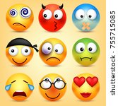 smiley emoticons set. yellow... | Shutterstock .eps vector #755715085