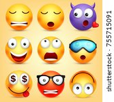 smiley emoticons set. yellow... | Shutterstock .eps vector #755715091