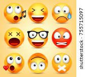 smiley emoticons set. yellow... | Shutterstock .eps vector #755715097
