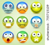 smiley emoticons set. yellow... | Shutterstock .eps vector #755715109