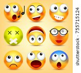 smiley emoticons set. yellow... | Shutterstock .eps vector #755715124