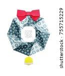 christmas origami wreath   Shutterstock . vector #755715229