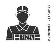 pizza deliveryman glyph icon.... | Shutterstock .eps vector #755718499