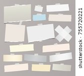 colorful  white ripped note... | Shutterstock .eps vector #755720221