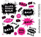brush stroke banners. grunge... | Shutterstock .eps vector #755722051