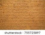 egyptian hieroglyphs on the wall | Shutterstock . vector #755725897