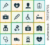 drug icons set. includes icons... | Shutterstock .eps vector #755729731