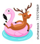 deer with flamingo inflatable...