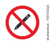 forbidden sign with pencil... | Shutterstock .eps vector #755731021