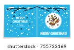 double sided holiday card with... | Shutterstock .eps vector #755733169