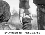 stylish hands of a parent and... | Shutterstock . vector #755733751