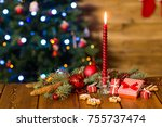 christmas background on a table ... | Shutterstock . vector #755737474