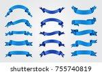 blue ribbon set.vector ribbon... | Shutterstock .eps vector #755740819