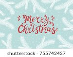 merry christmas greeting card.... | Shutterstock .eps vector #755742427