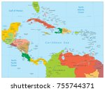 map of the caribbean. highly... | Shutterstock .eps vector #755744371