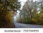 foggy autumn morning drive in...   Shutterstock . vector #755744995