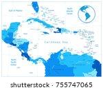 blue map of the caribbean | Shutterstock .eps vector #755747065