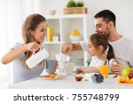 family  eating and people... | Shutterstock . vector #755748799
