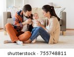 family  parenthood and people... | Shutterstock . vector #755748811